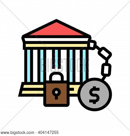 Bankruptcy Poverty Problem Color Icon Vector. Bankruptcy Poverty Problem Sign. Isolated Symbol Illus
