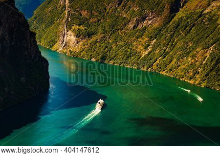 Fjord Geirangerfjord With Big Cruise Ship, View From Ornesvingen Viewing Point, Norway. Travel Desti