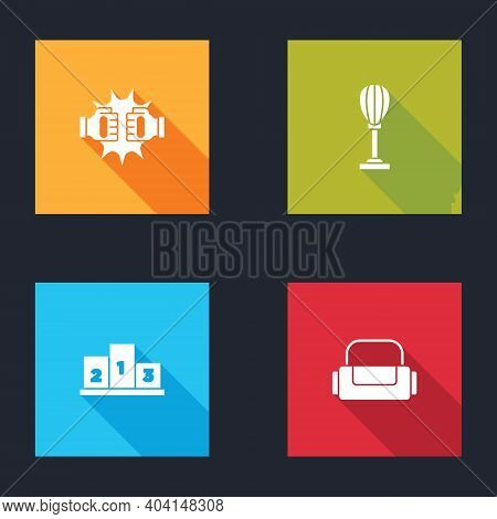 Set Punch In Boxing Gloves, Punching Bag, Award Over Sports Winner Podium And Sport Icon. Vector