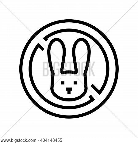 Stop Kill Rabbits Line Icon Vector. Stop Kill Rabbits Sign. Isolated Contour Symbol Black Illustrati