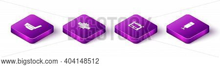 Set Isometric Ice Hockey Stick And Puck, Punch In Boxing Gloves, Stopwatch And Punching Bag Icon. Ve