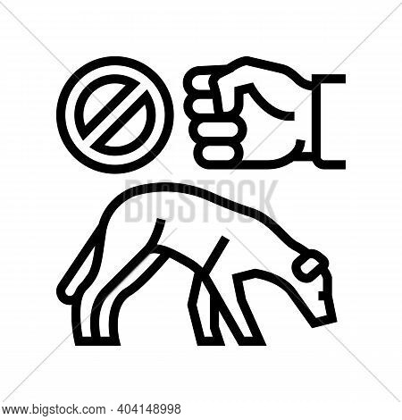 Stop Beat Dogs Line Icon Vector. Stop Beat Dogs Sign. Isolated Contour Symbol Black Illustration