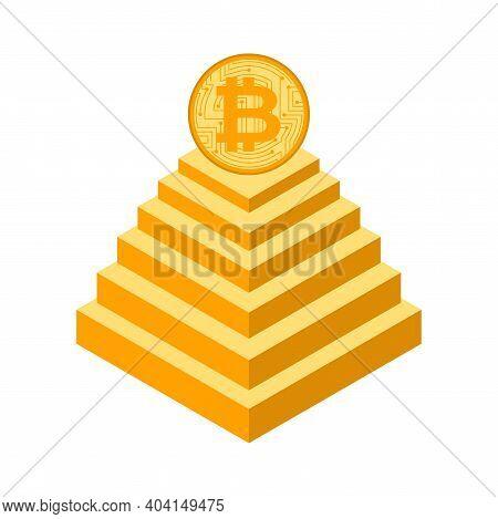 Bitcoin Pyramid. Financial Pyramid On Cryptocurrency. Vector Illustration