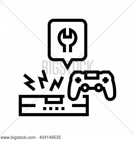 Game Console Repair Line Icon Vector. Game Console Repair Sign. Isolated Contour Symbol Black Illust