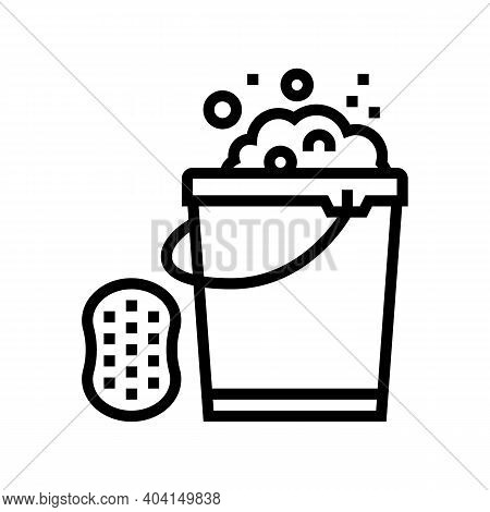 Sponge And Bucket With Water Line Icon Vector. Sponge And Bucket With Water Sign. Isolated Contour S