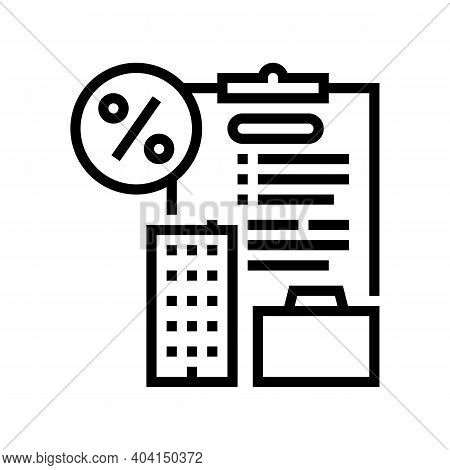 Open Own Business Loan Line Icon Vector. Open Own Business Loan Sign. Isolated Contour Symbol Black