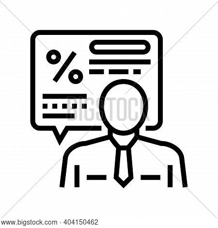 Manager Explaining Loan Line Icon Vector. Manager Explaining Loan Sign. Isolated Contour Symbol Blac