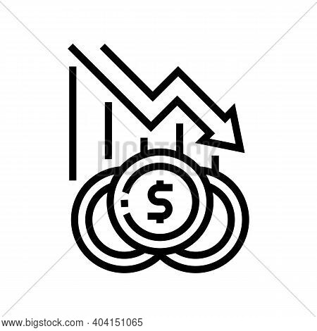 Finance Lost, Poverty Problem Line Icon Vector. Finance Lost, Poverty Problem Sign. Isolated Contour