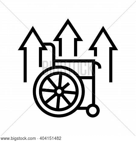 Disability Increasing Poverty Problem Line Icon Vector. Disability Increasing Poverty Problem Sign.