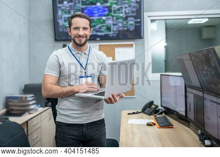 Smiling Man In Specially Equipped Hightech Room