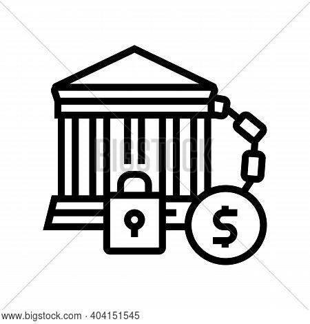 Bankruptcy Poverty Problem Line Icon Vector. Bankruptcy Poverty Problem Sign. Isolated Contour Symbo