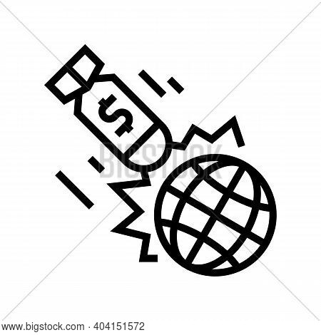 War Poverty Problem Line Icon Vector. War Poverty Problem Sign. Isolated Contour Symbol Black Illust