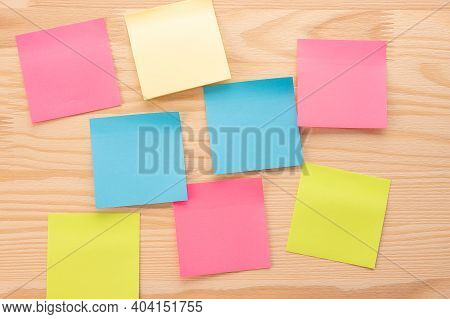 Mockup Sticky Note Paper On The Board. Set Of Colorful Blank Sticky Notes. Pieces Of Note Paper On W