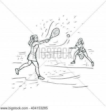 Tennis Sketch Hand Drawn Vector Background. Women Tennis Players With Racquet At The Court Isolated