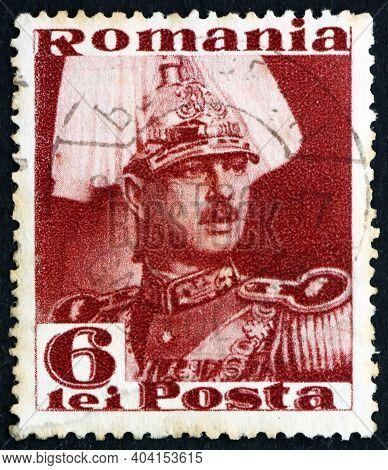 Romania - Circa 1935: A Stamp Printed In Romania Shows King Carol Ii, King Of Romania, Circa 1935