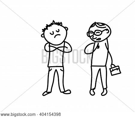 Two Men Are Talking On A White Background. Proud And Humble. Sketch. Vector Illustration.