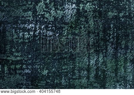 Dark Green And Blue Fluffy Background Of Soft, Fleecy Fabric. Texture Of Emerald Textile Backdrop Wi