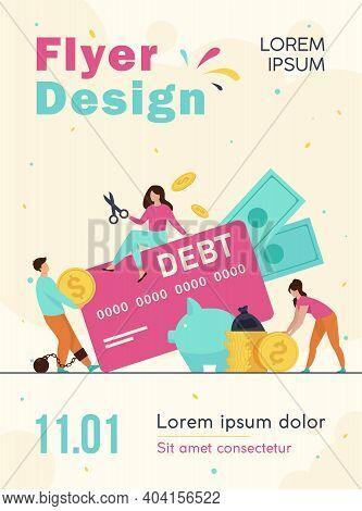 Tiny People In Trap Of Credit Card Debt Flat Vector Illustration. Cartoon Characters Paying Money Fo