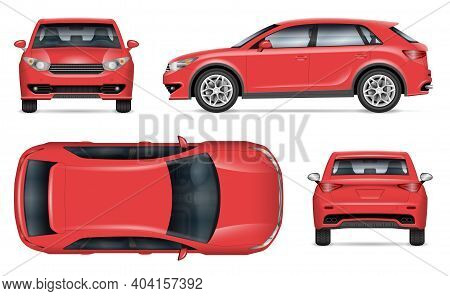 Realistic Suv Vector Mockup. Isolated Template Of Red Car On White Background For Vehicle Branding,
