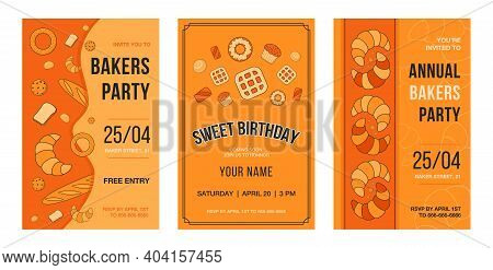 Invitation Card Set With Baking. Pastry And Bread Vector Illustrations With Text, Time And Date On O