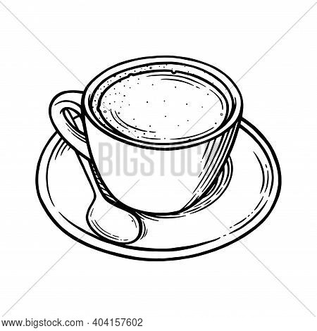 Coffee Cup With Americano. Cup, Spoon And Saucer Set For Hot Coffee. Black And White Engraved Vector