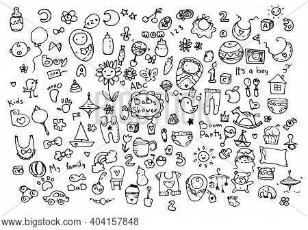 Cartoon Vector Illustration Of A Set Of Objects For Babies To Be Born Hand-drawn Style Doodle . Sket