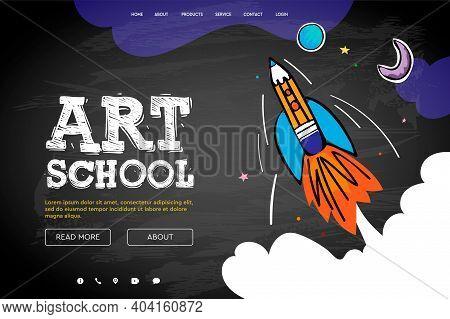 Web Page Design Template For Art School, Studio, Course, Class, Education. Modern Design Vector Illu