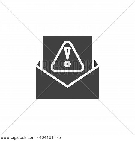 Spam Email Vector Icon. Filled Flat Sign For Mobile Concept And Web Design. Envelope With Exclamatio
