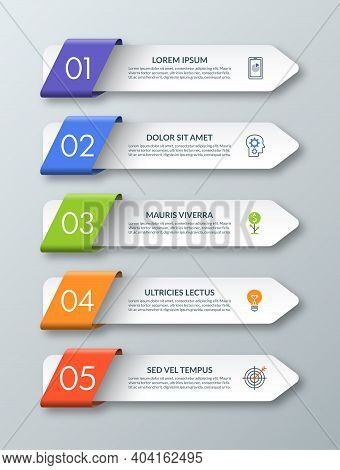 Arrow Infographic Template With 5 Steps, Options, Parts, Elements. Origami Style. Vector Banner. Can