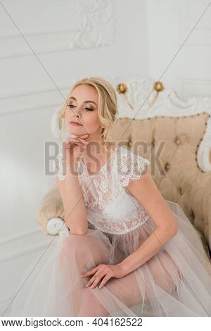 Conceptual Wedding, The Morning Of The Bride In The European Style. Boudoir Dress