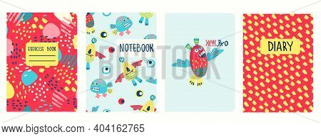 Cover Page Templates Based On Patterns With Hand Drawn Funny Monsters, Fantasy Shapes And Hey Bro Le