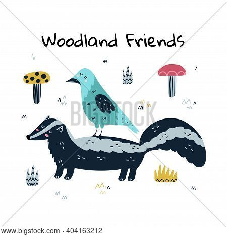Woodland Friends Funny Print With A Skunk And A Crow. Cute Card With Forest Characters