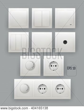 Whute Wall Switch. Power Electrical Socket. Power Electricity Sockets Illustration. Electricity Turn