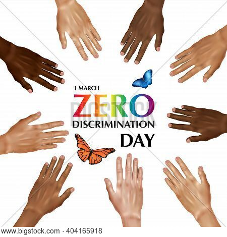 Zero Discrimination Day Composition With Colorful Text Surrounded By Human Hands Of Different Color