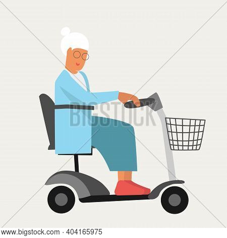 Granny Old Woman On Wheelchair Electric Scooter In Flat Style. Happy Retirement For Disabled People.
