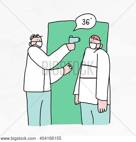 COVID-19 temperature screening for business doodle character