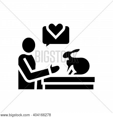 Bunny Veterinary Researchment Glyph Icon Vector. Bunny Veterinary Researchment Sign. Isolated Contou