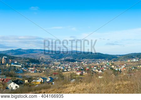 Winter Landscape With Carpathians Mountains Village. Skhidnytsya, Ukraine