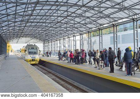 Kyiv, Ukraine - October 07, 2019: Passengers Boarding Boryspil Express Train - Shuttle Airport Train