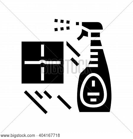 Sprayer For Cleaning Tile Glyph Icon Vector. Sprayer For Cleaning Tile Sign. Isolated Contour Symbol