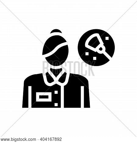 Maid Cleaning Service Employee Glyph Icon Vector. Maid Cleaning Service Employee Sign. Isolated Cont