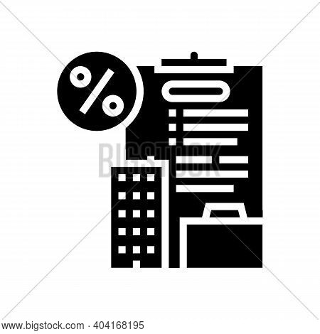Open Own Business Loan Glyph Icon Vector. Open Own Business Loan Sign. Isolated Contour Symbol Black