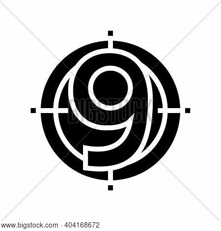 Nine Number Glyph Icon Vector. Nine Number Sign. Isolated Contour Symbol Black Illustration
