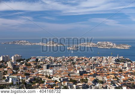Aerial View Of The District Of Le Pharo With Off The Coast Of Marseille, A Small Archipelago Called