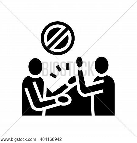 People Fight Poverty Problem Glyph Icon Vector. People Fight Poverty Problem Sign. Isolated Contour