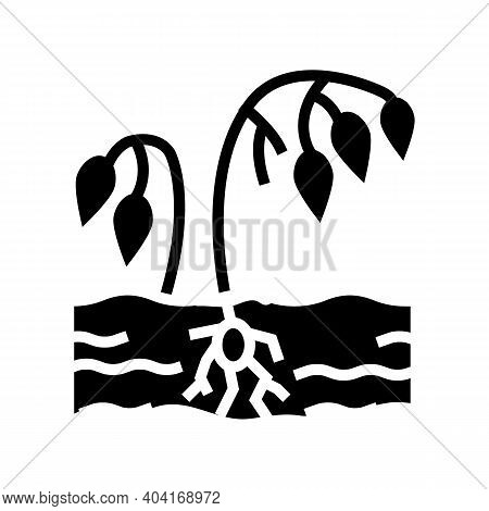 Drought Poverty Problem Glyph Icon Vector. Drought Poverty Problem Sign. Isolated Contour Symbol Bla