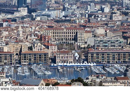 Marseille, France - March 23 2019: Aerial View Of The Vieux Port With The Mairie De Marseille (engli