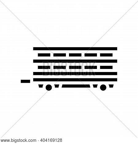 Farm Products Transportation Trailer Glyph Icon Vector. Farm Products Transportation Trailer Sign. I
