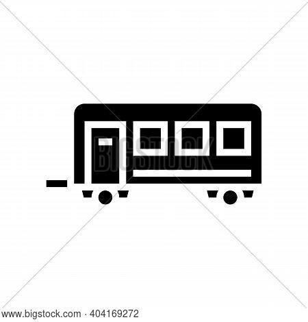 Passengers Transportation Trailer Glyph Icon Vector. Passengers Transportation Trailer Sign. Isolate