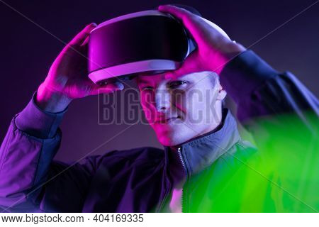 Gamer with VR headset entertainment technology